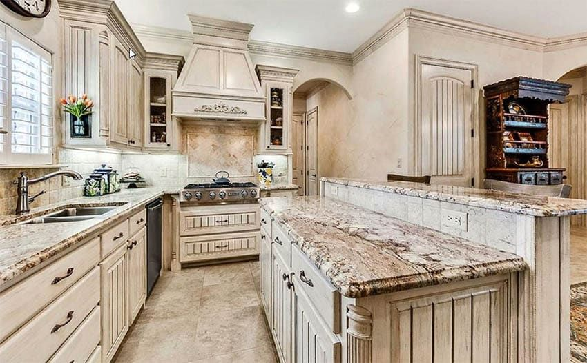 Distressed Kitchen Cabinets Design Pictures In 2020 Antique White Kitchen Kitchen Cabinet Design Photos Distressed Kitchen Cabinets