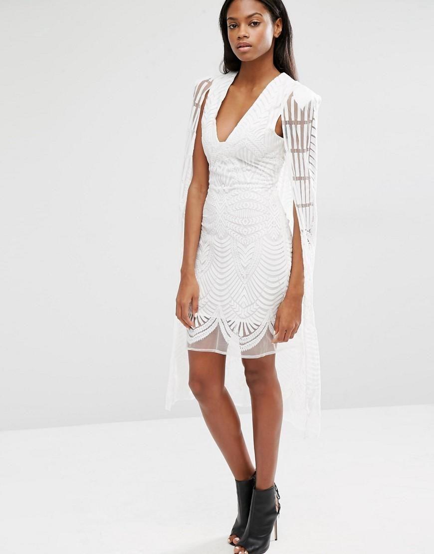 Lavish Alice | Lavish Alice Embroidered Mesh Maxi Cape Mini Dress at ...