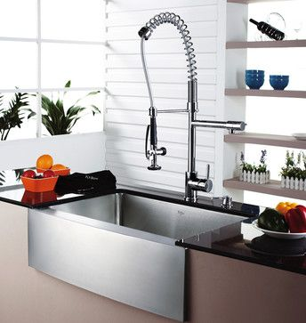 Kraus Single Lever Pull Out Kitchen Faucet Chrome   Modern   Kitchen Faucets    DirectSinks