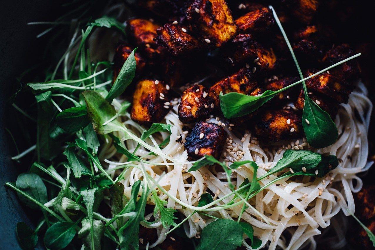 Crispy Harissa Tofu with Sesame Noodles | vegan gluten free recipe via willfrolicforfood.com
