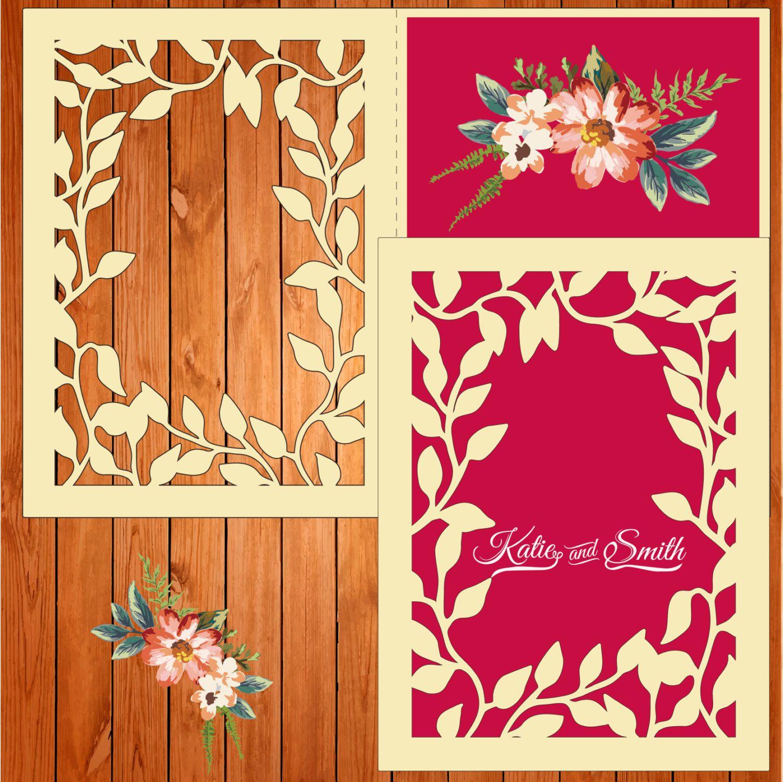 Invitación de la boda tarjeta plantilla, figuras, hojas (studio V3 ...