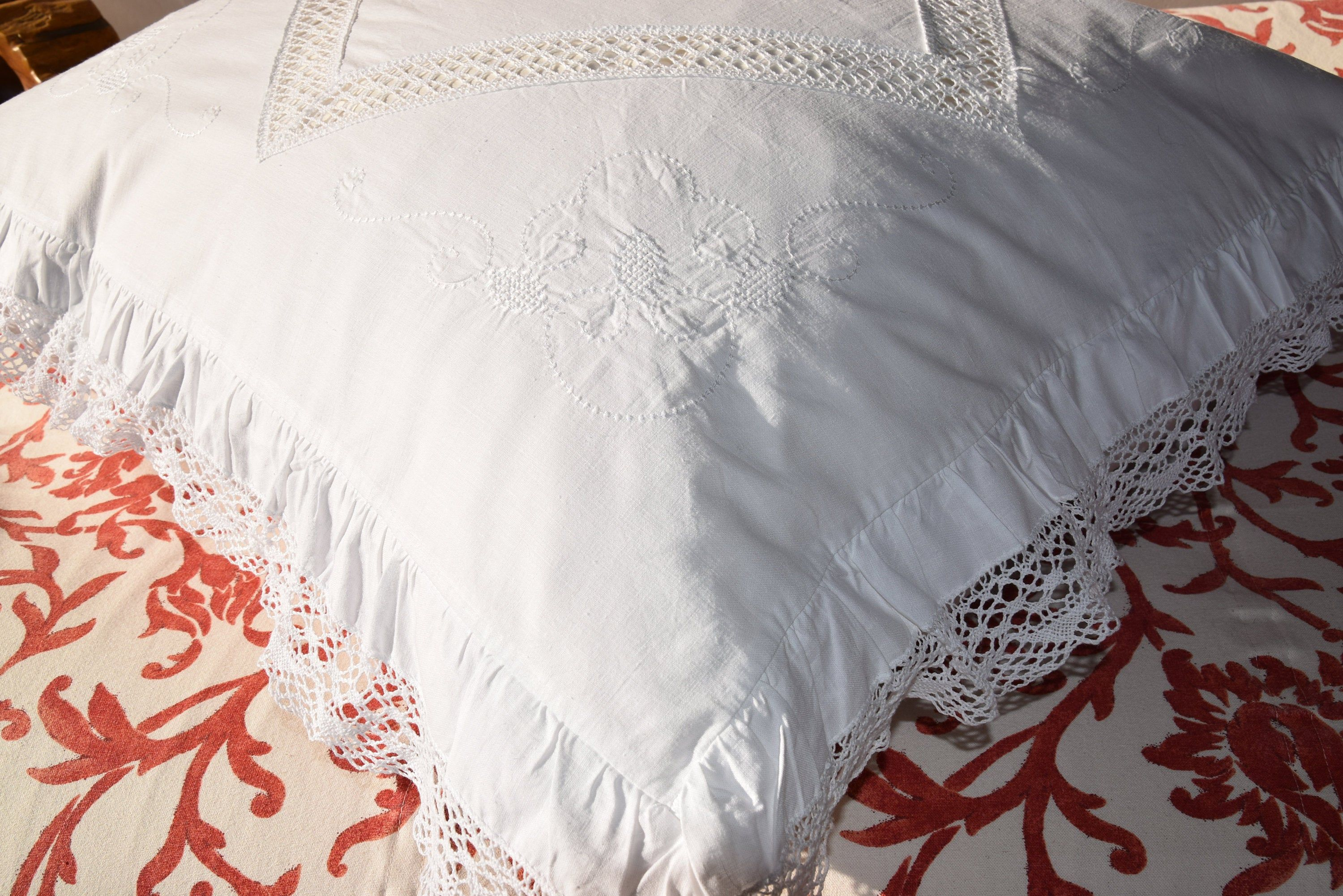 Antique Pillowcases White Pair His and Hers Vintage Hand Crochet and Embroidery Bed Linens Crisp White Cases