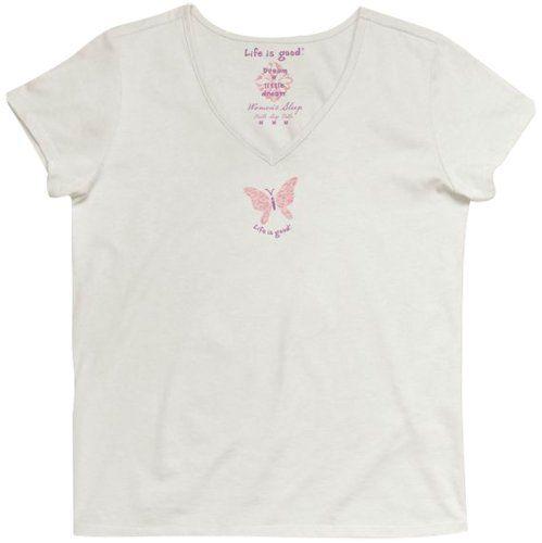 Life is Good Women's Siesta V-Neck Butterfly T-Shirt