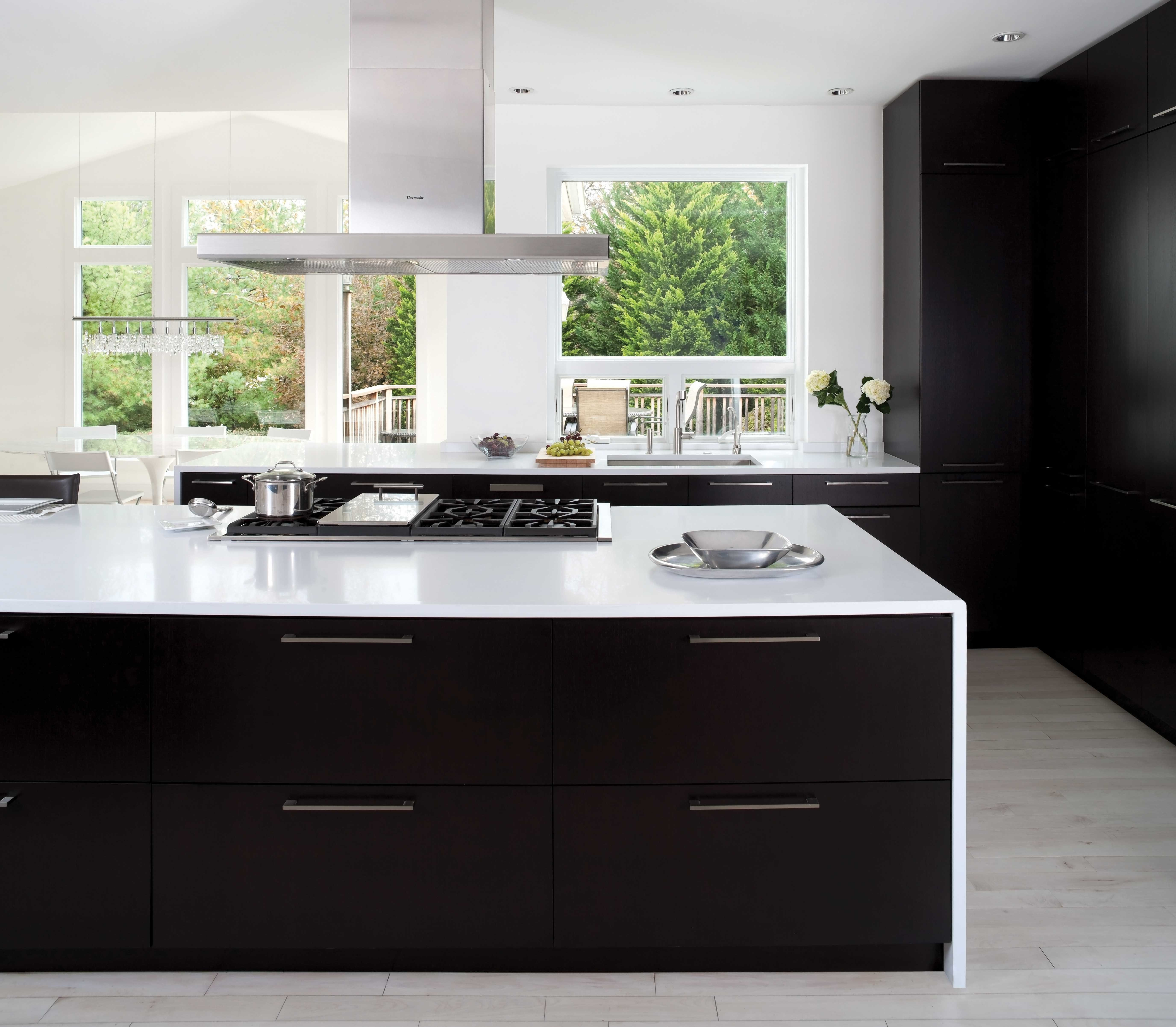 This Gorgeous Contemporary Kitchen Features A Slab Door Style With A Black Matte Finish Wi Kitchen Cabinets Black And White White Modern Kitchen Modern Kitchen