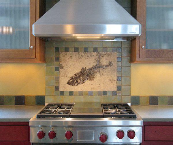 Kitchen Backsplash Centerpiece backsplashes - fossil artgreen river stone company fossil