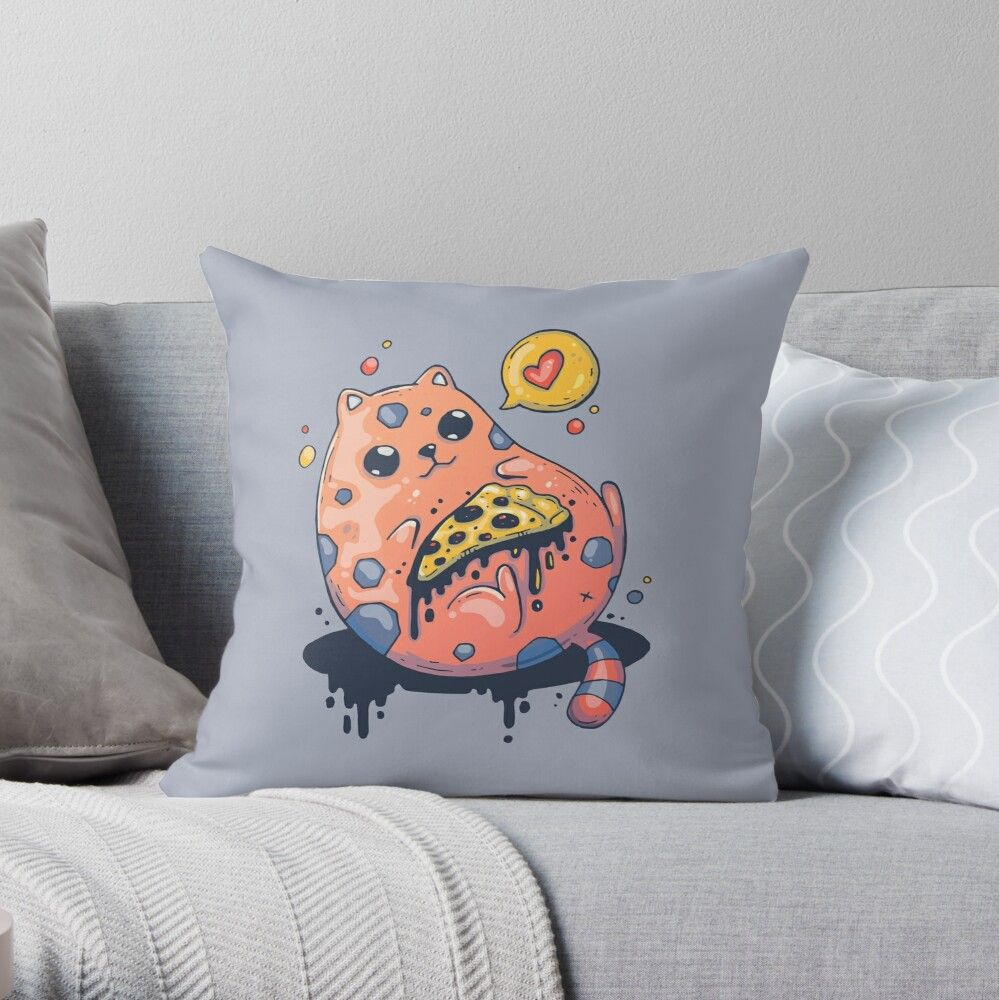 'Funny Cute Fat Cat Eating Piece of Pizza' Throw Pillow by badrlahmidi