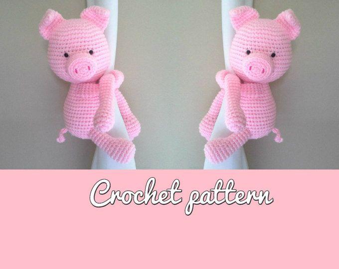 Tutorial Amigurumi Cerdito : Cerdito piggy curtain tie back crochet pattern english and spanish