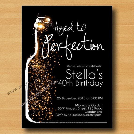Wine invitation wine birthday aged to perfection glitter birthday wine birthday invitation aged to perfection glitter birthday invitation cheers for any age gathering stopboris Images
