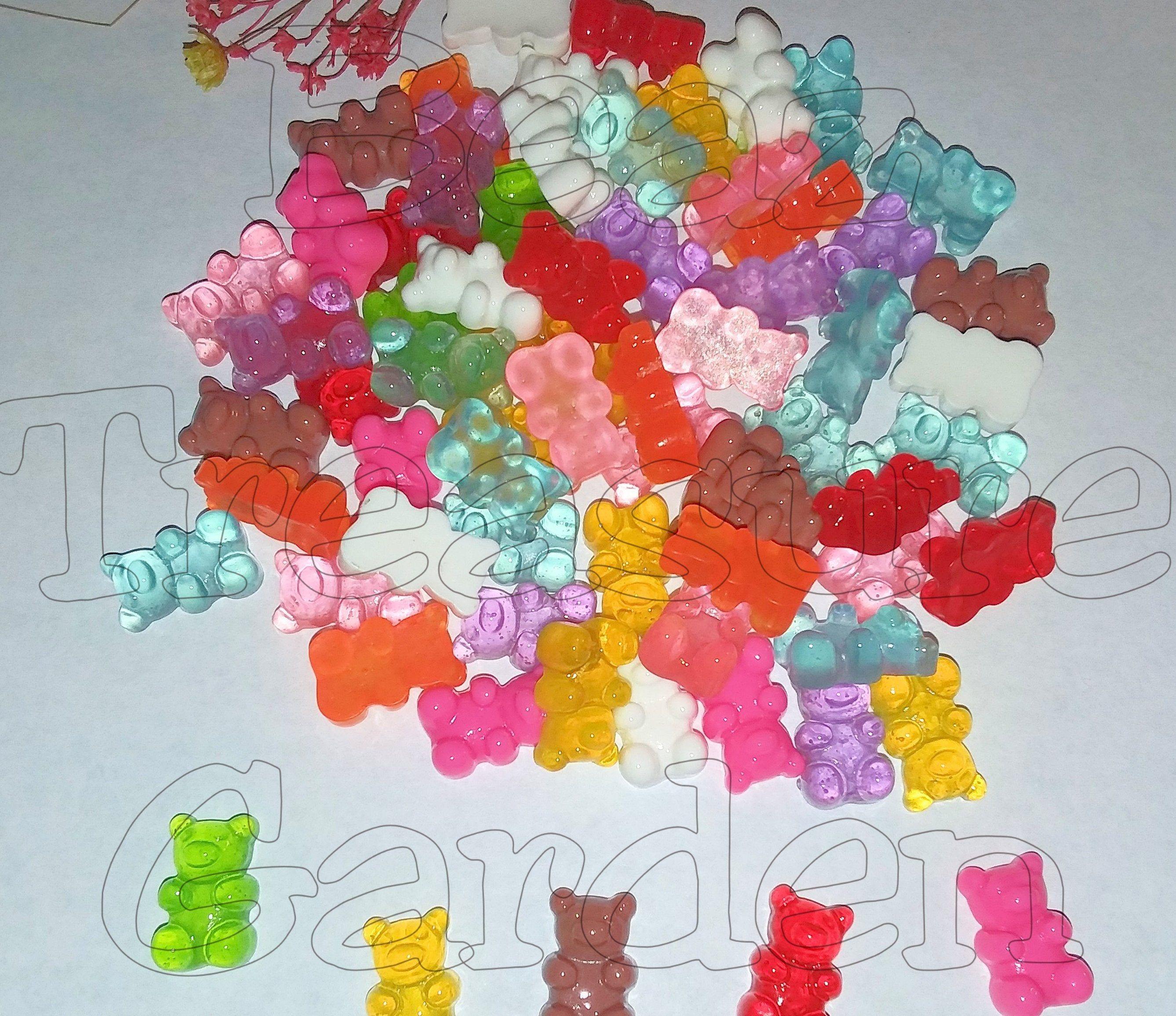 10 Pieces Tiny Miniature Colorful Gummy Bear Resin Kawaii