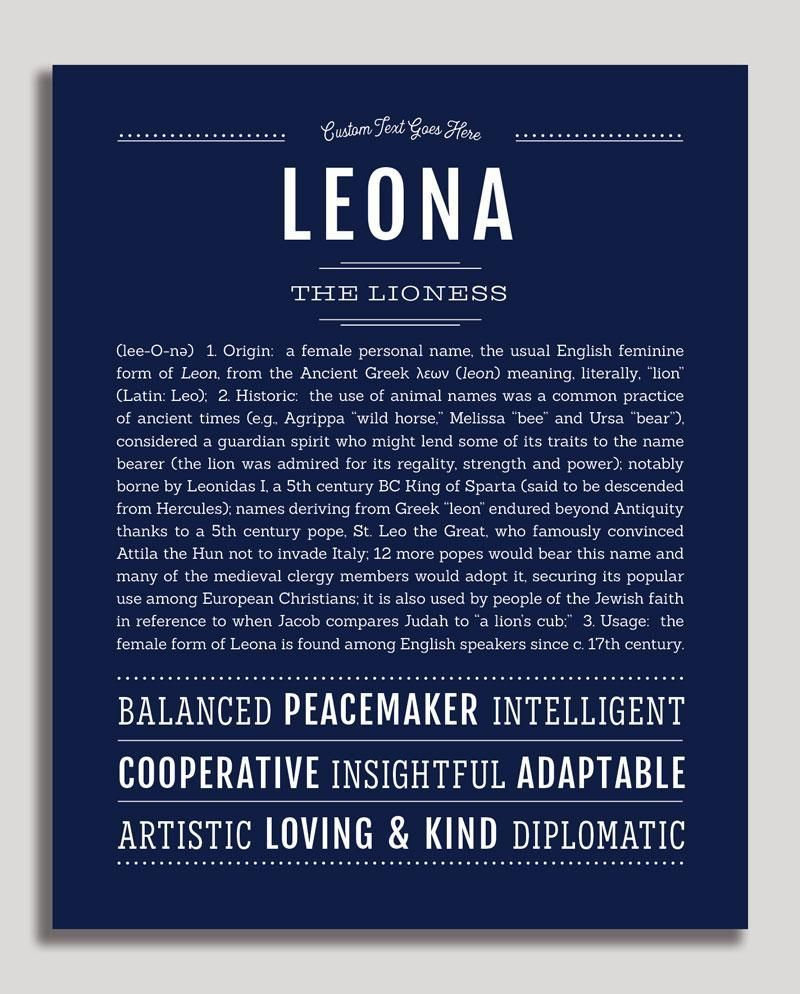 Leona Classic Name Print Classic Names Personalized Art Print