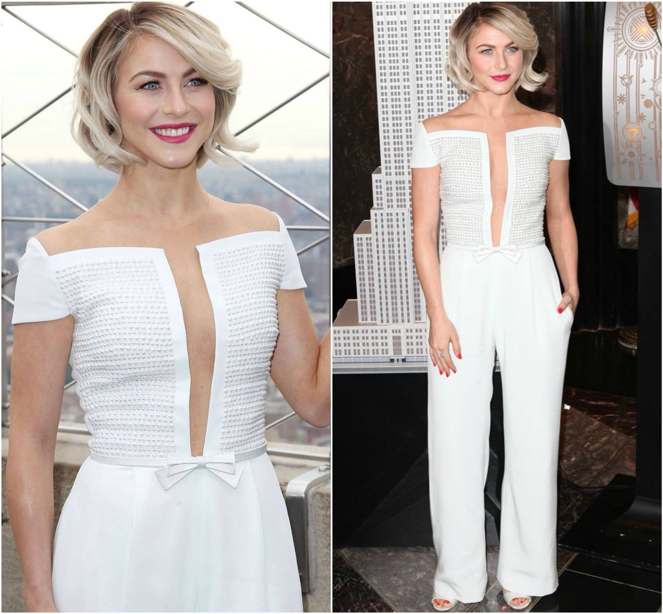 "Julianne Hough looked fabulous in GEORGES HOBEIKA as she lit the Empire State Building pink in honor of Plan International USA's ""International Day of the Girl."" Hough selected a white, cap sleeve jumpsuit featuring a pearl embroidered, illusion split-bust top from Georges Hobeika's SS 2014 Couture collection. #GeorgesHobeika #JulianneHough #couture #hautecouture #EmpireStateBuilding #event #white #jumpsuit #overall #pearls #embroidery #celebrity #hair #makeup #fashion #paris"
