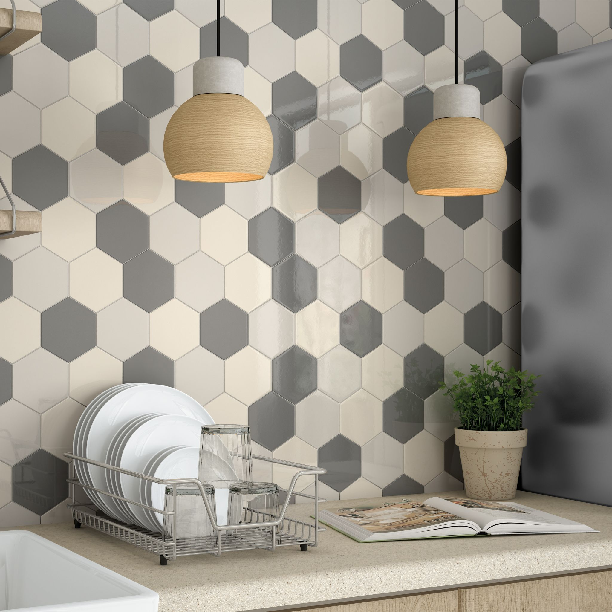 Use different colour tiles to create pattern walls and splashbacks ...