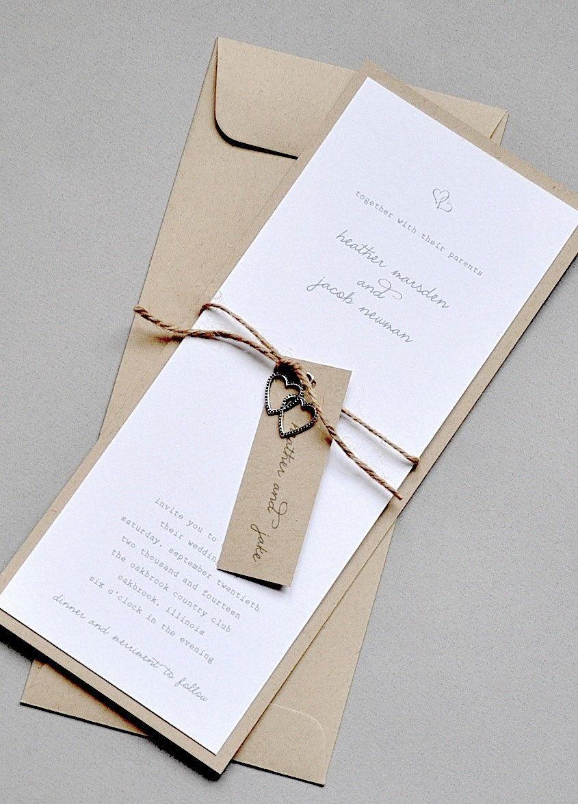 Two Hearts Kraft and White Wedding Invitations. $75.00, via Etsy ...