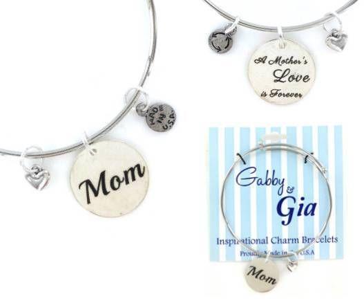 Expandable Adjustable Bangle Charm Bracelet silver Mom MOTHER love heart gift