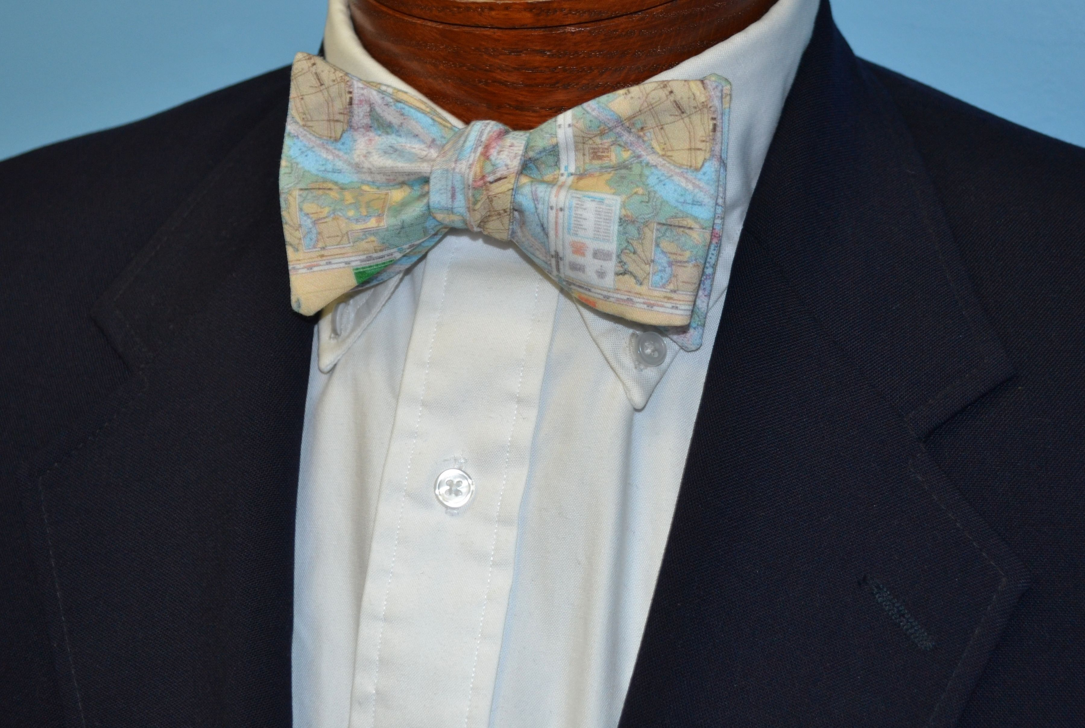 Charleston harbor map bow tie 55 printed on organic
