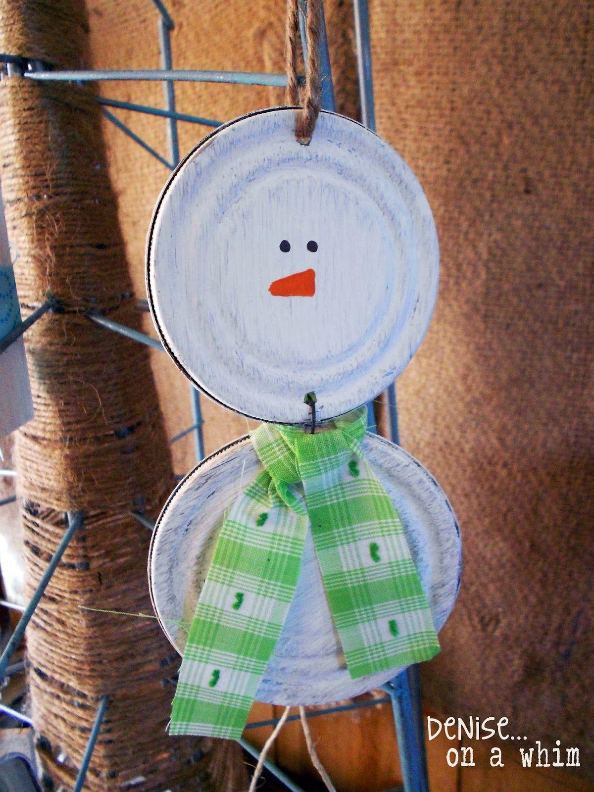 Tin Can Lid Snowman Ornaments