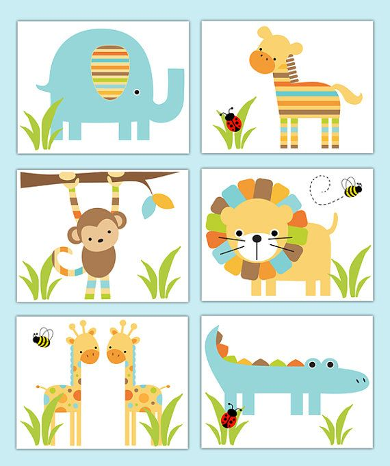 Elephant Twin Nursery Wall Art Nursery Room Decor For Twins: SAFARI NURSERY PRINTS Wall Art Baby Boy Jungle Animal