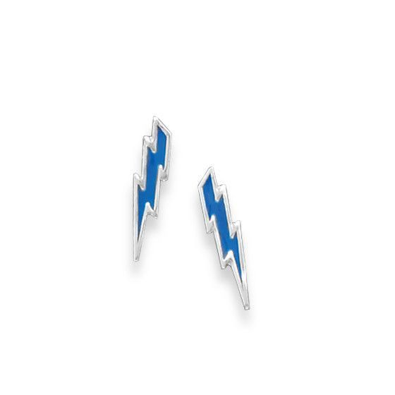 Blue Lightning Bolt Stud Earrings Sterling Silver Blue Enamel Lightning Bolt Stud Earrings The Earrings Are With Images Blue Lightning Lightning Bolt Lightening Bolt