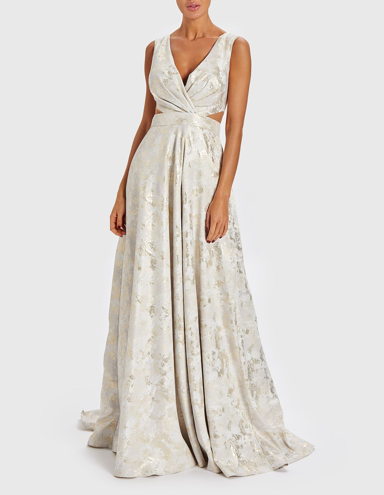 The mara ivory and gold floorlength gown will make you look and
