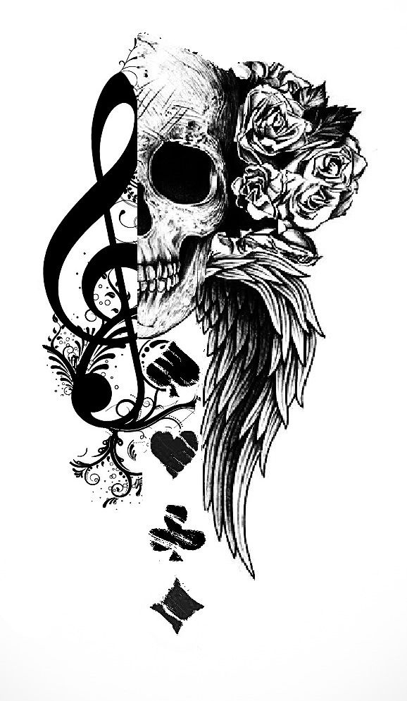 Music skull and playing cards tattoo | Tattoo.com | Tattoos | Skull ...