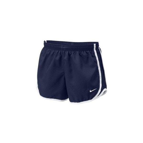 14a616a61 Girls Nike Tempo Running Shorts Navy/White ($25) ❤ liked on Polyvore  featuring shorts, nike and workout