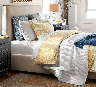 Raleigh Square Bed King Stone Pottery Barn Upholstered Beds