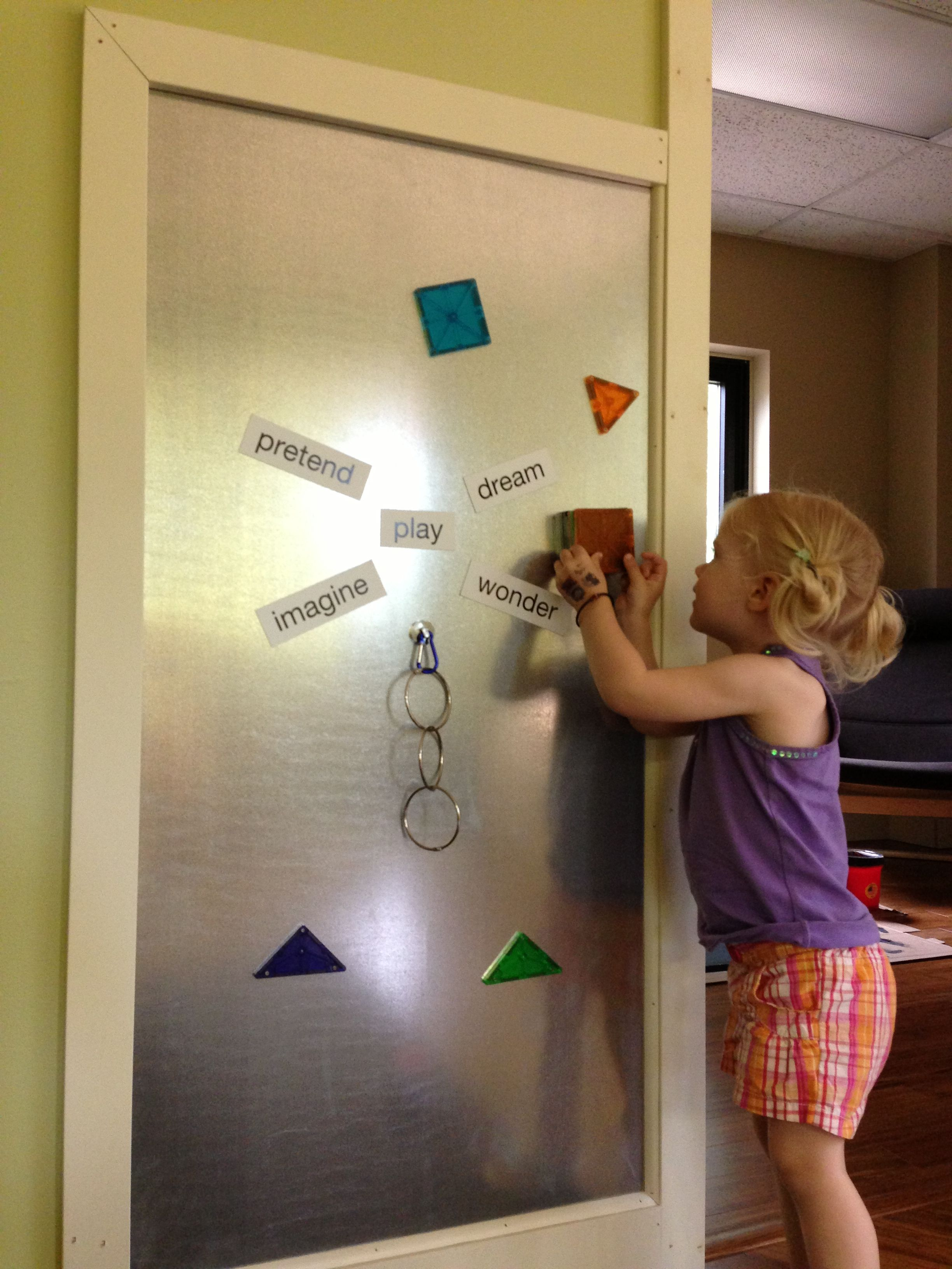 Create a DIY magnetic board to play with Magna-Tiles on! The side ...