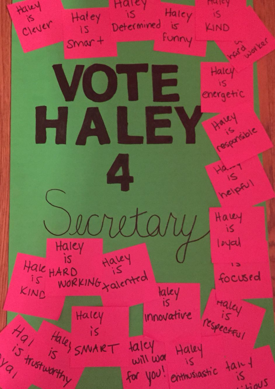student council election poster ideas. my daughter made this. she