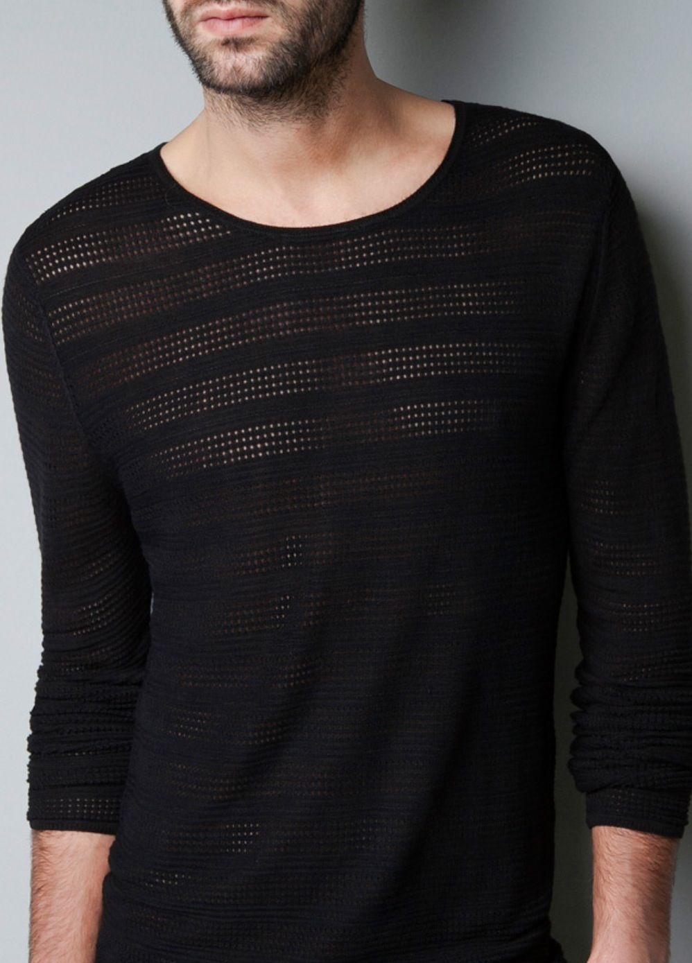 Men/'s Long Sleeve Black//White Mesh Sheer T-shirt Transparent Fishnet Te EDN