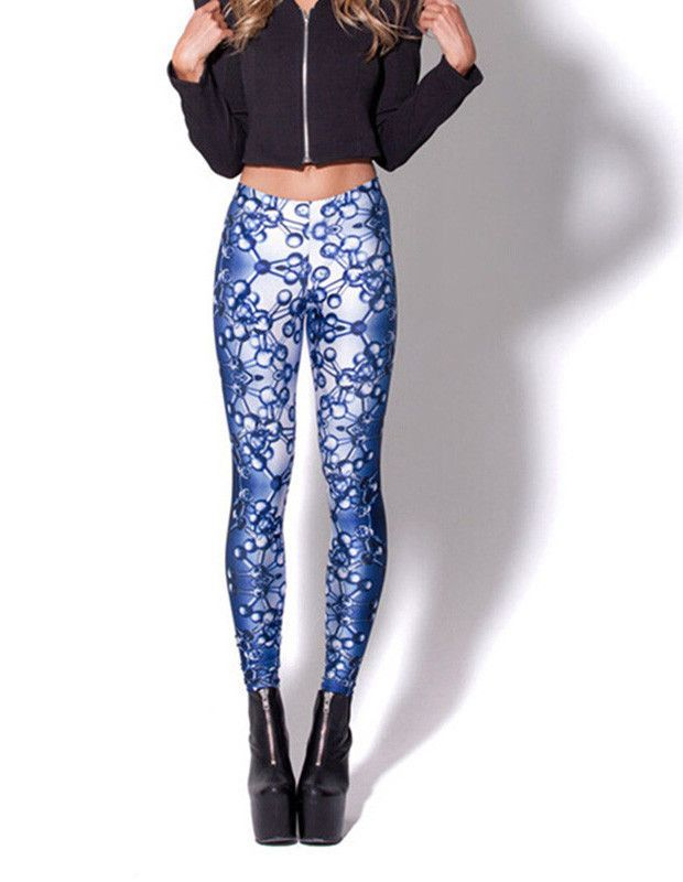 Womens Sexy Molecular Structure Print Stretchy Tights Leggings