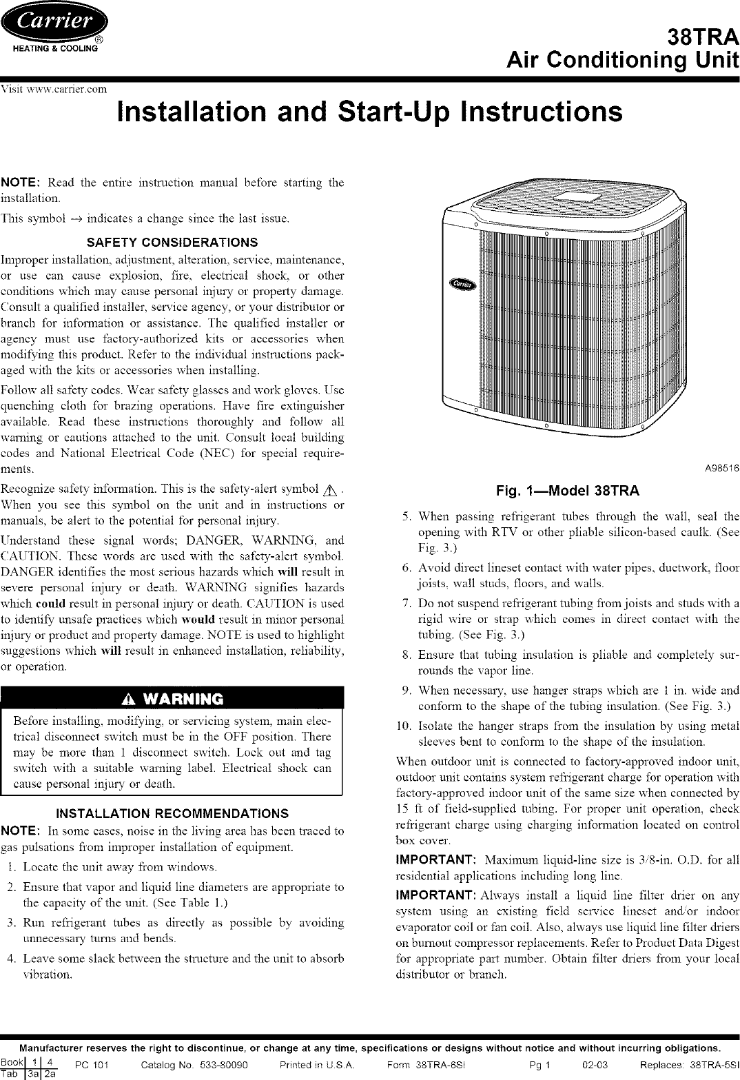 Carrier 38tra Air Conditioner User Manual. Feels free to