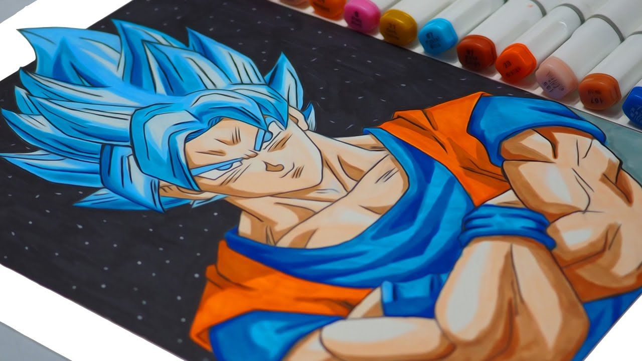 How To Draw Goku Super Saiyan Blue Use Cheap Marker Goku Super Saiyan Blue Goku Drawing Super Saiyan Blue