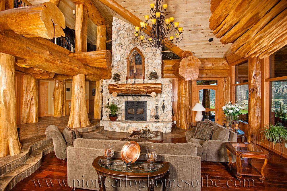 Log Cabin Style Living Room Loft Designs Bc Canada Log Homes Log Home Living Cabin Style