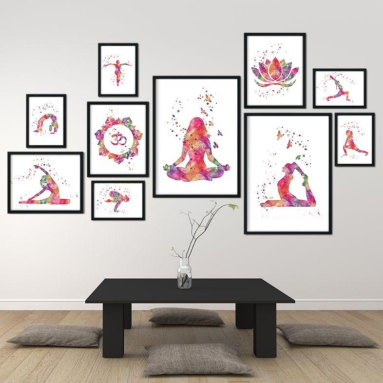 Yoga Print Set Of 10 Watercolor Art Prints Yoga Studio Wall Etsy Watercolor Art Prints Watercolor Art Art Decor