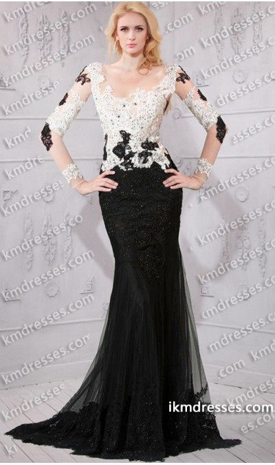 Take an iconic approach to gala style in this black and white gown ...