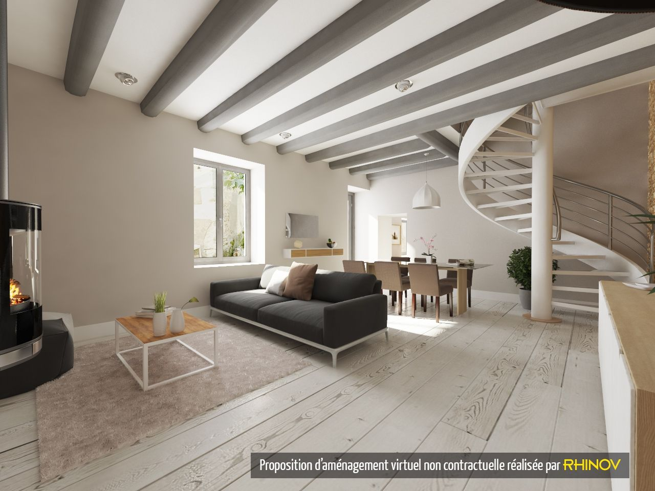 Prestation RHINOV   Visuel 3D   Salon Séjour   Escalier Contemporain    Décoration
