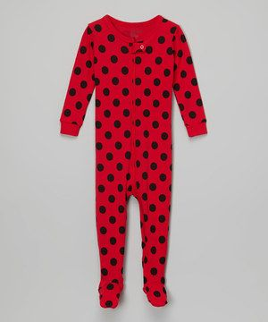 Look what I found on #zulily! Red & Black Polka Dot Footie - Infant & Kids by Leveret #zulilyfinds
