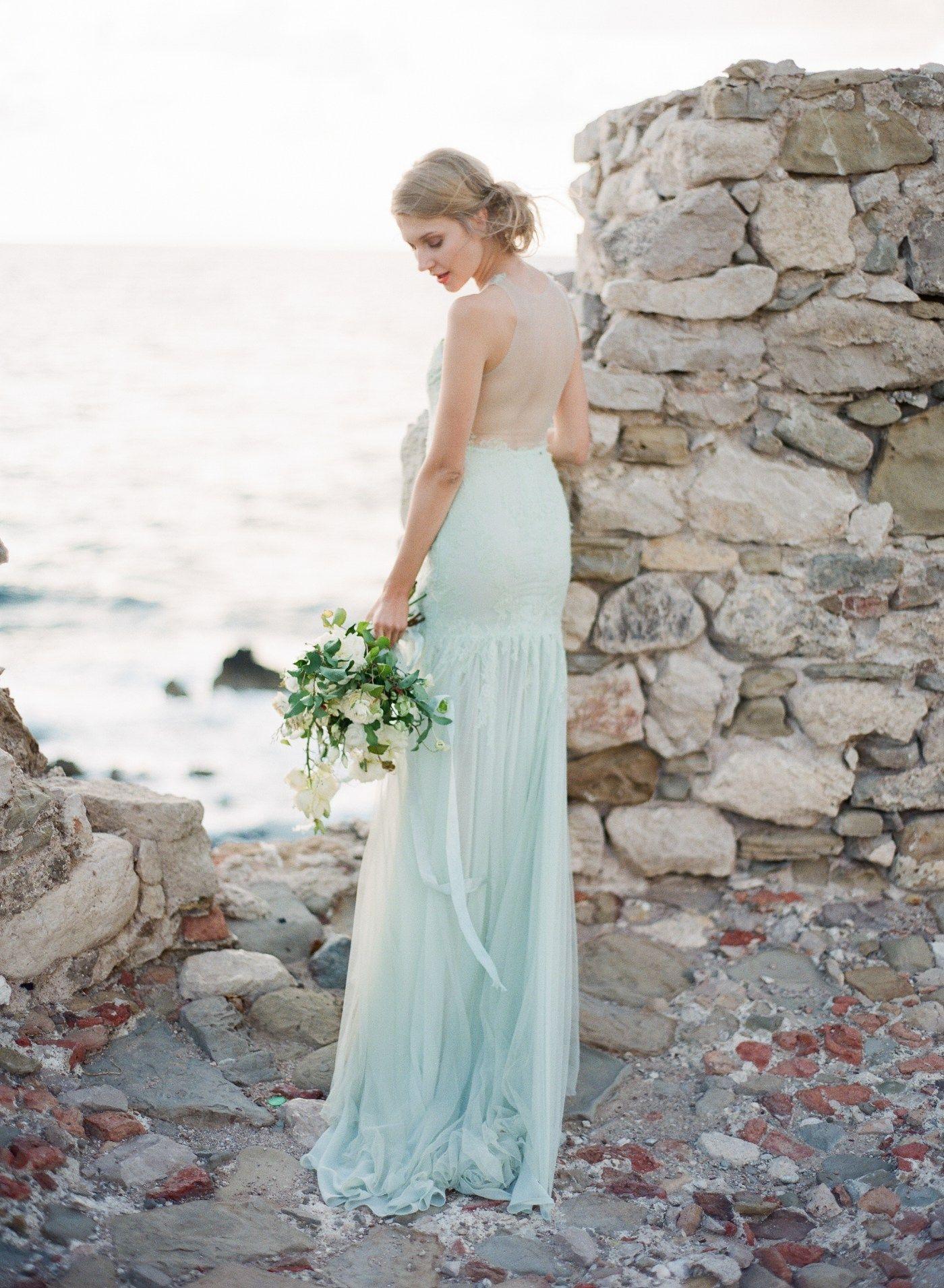 Green Pastel Backless Wedding Dress Greek Godess Inspiration Greek ...
