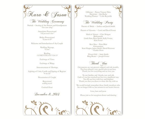 wedding program template diy editable text word file download gold