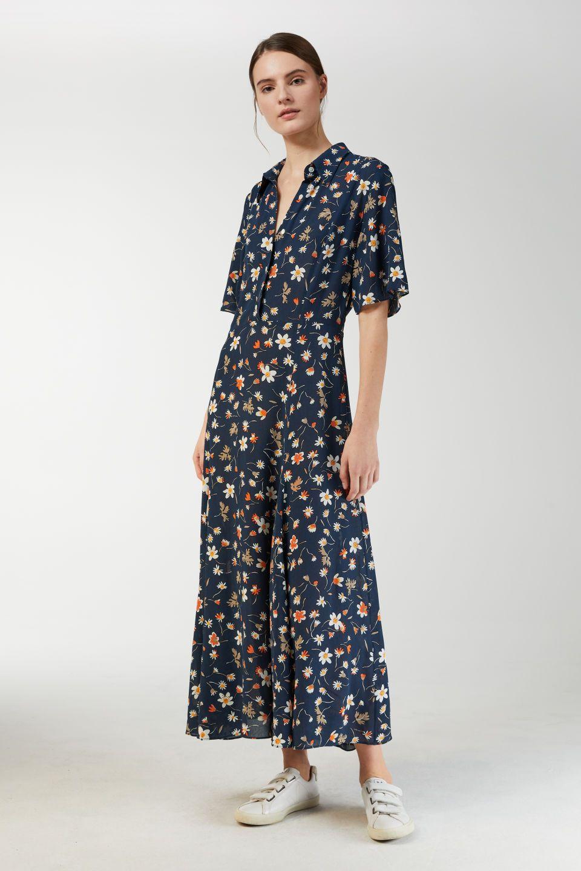 150acb50cd6 F. Ducharne Floral Crepe Dress - Dark Blue - Dresses | fashion ...