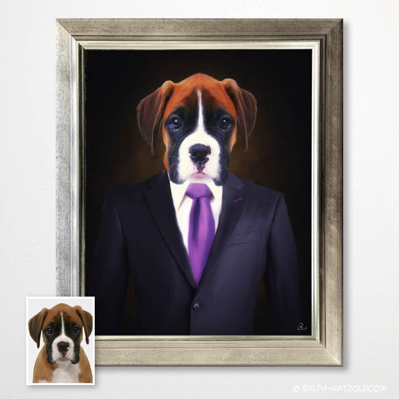 Hundeportraits Hunde In Kleidung Hunde Im Anzug Gemalde In