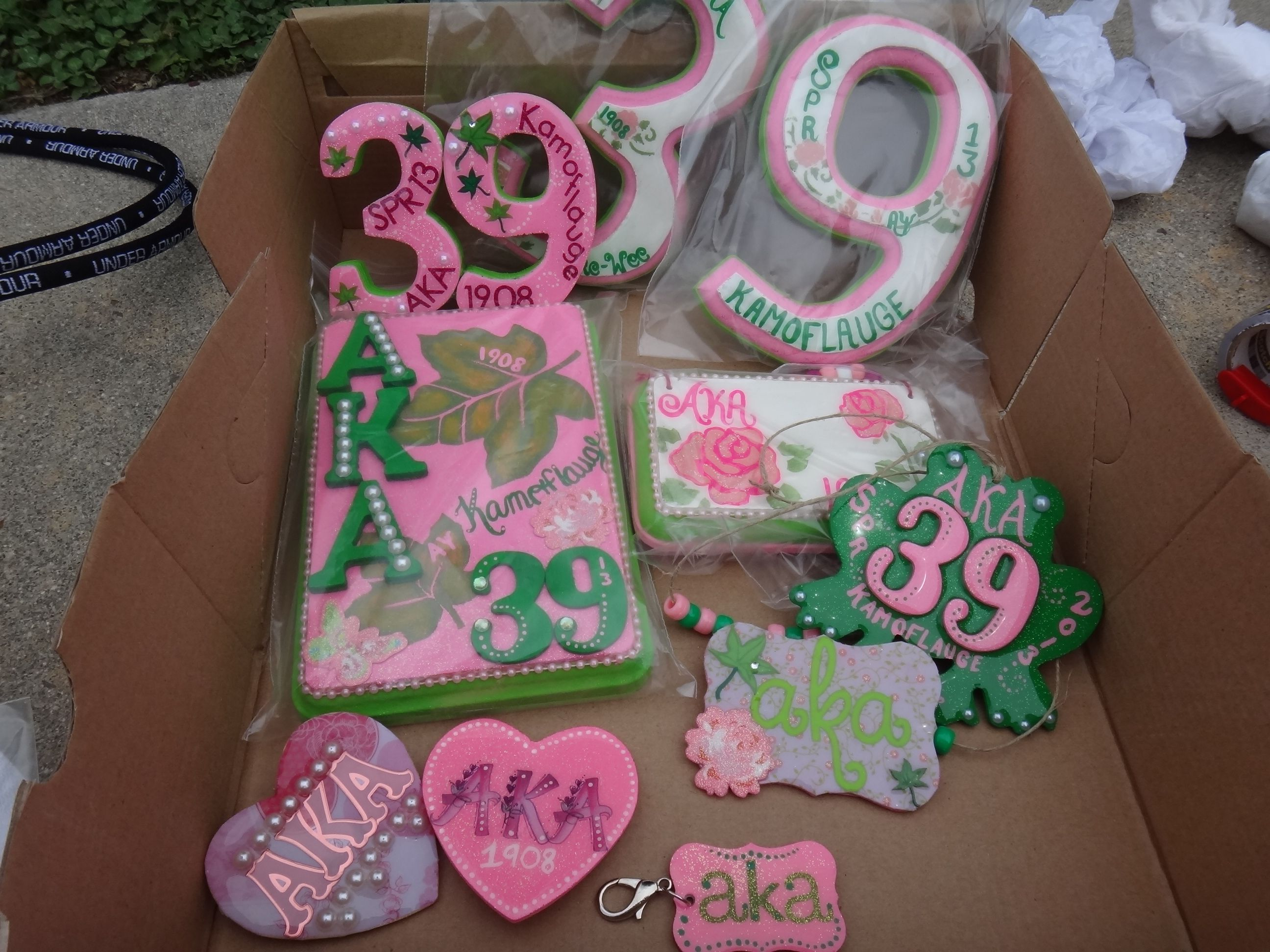Alpha Kappa Alpha Sorority handmade crossing gifts | Greek