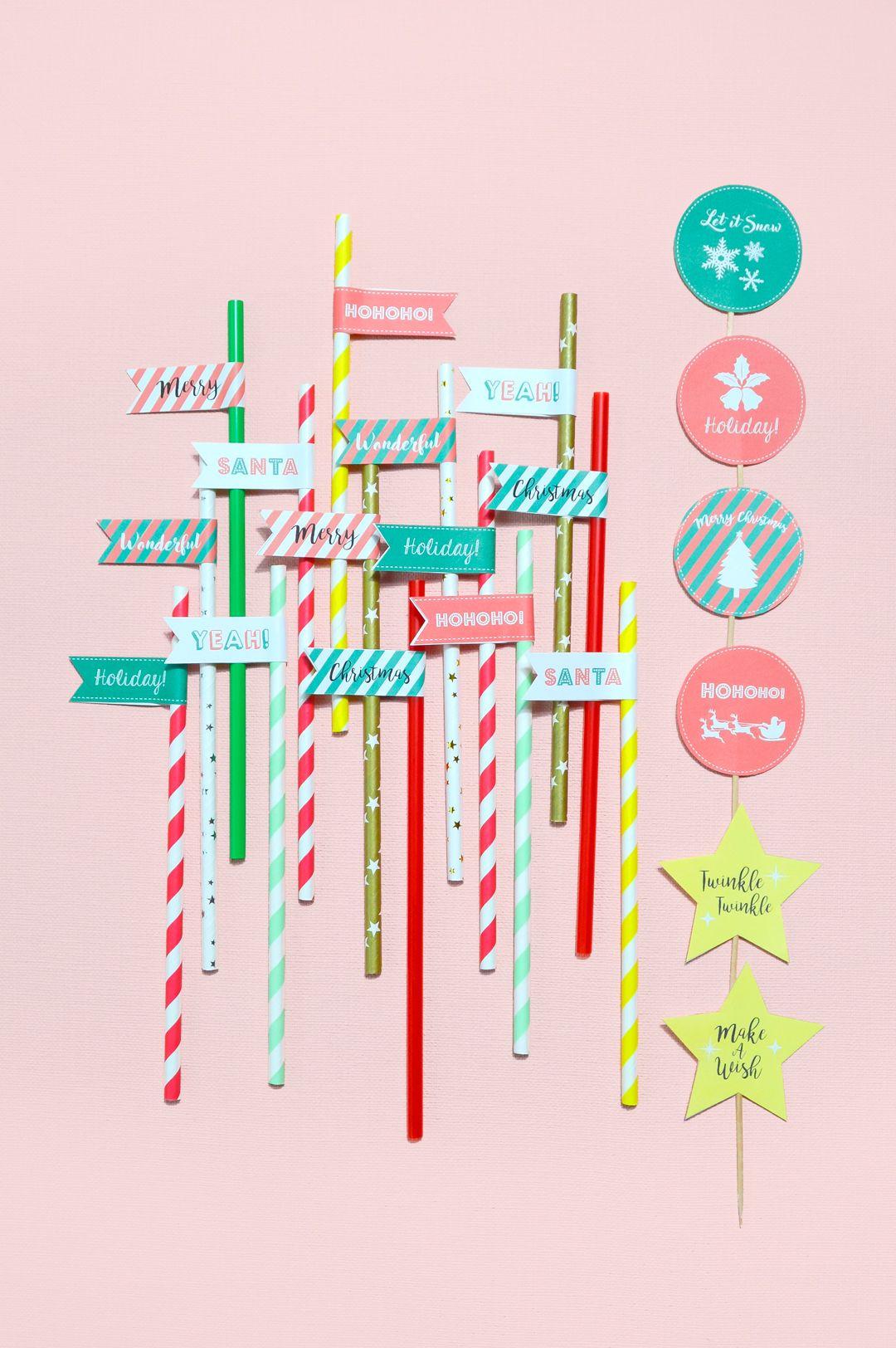 free holiday printable 2017 クリスマスパーティに 簡単デコストロー
