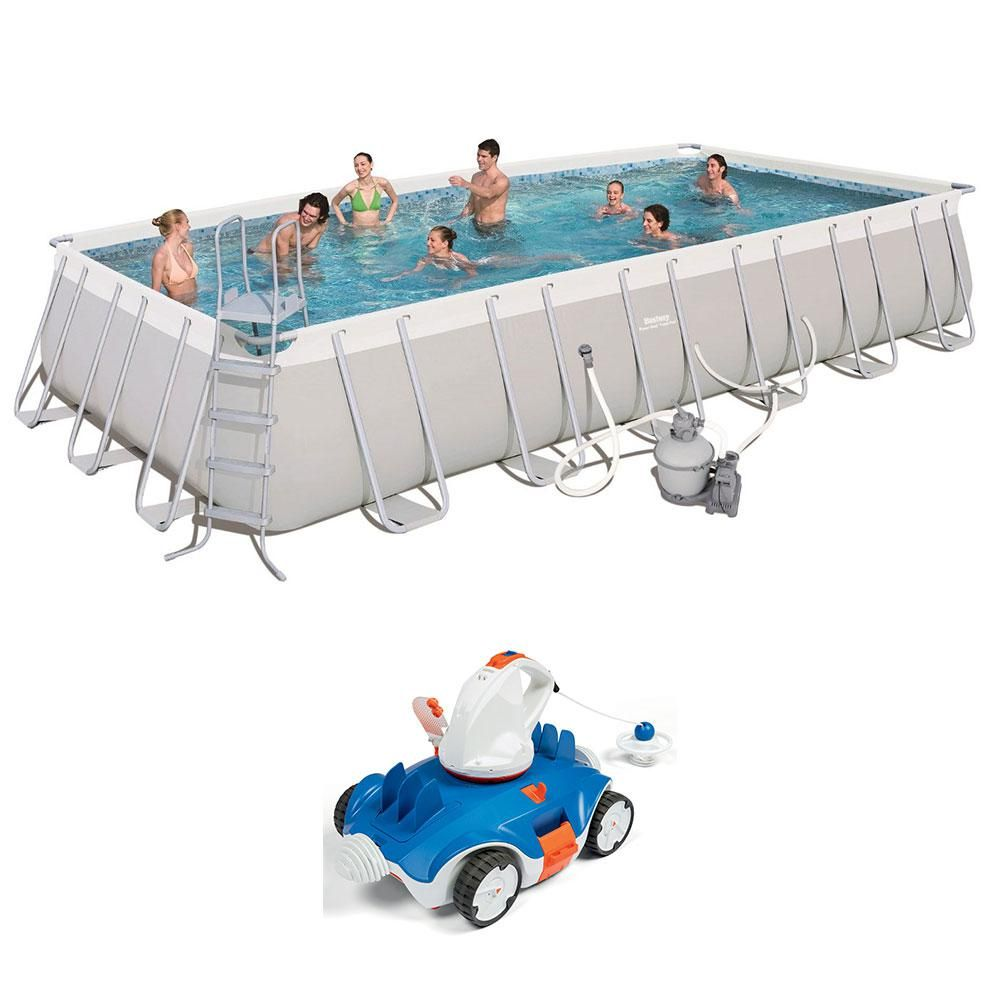 24 Ft X 12 Ft X 52 In Above Ground Swimming Pool With Cordless Cleaning Robot 56477e Bw 58483e In 2020 Above Ground Swimming Pools Swimming Pools In Ground Pools