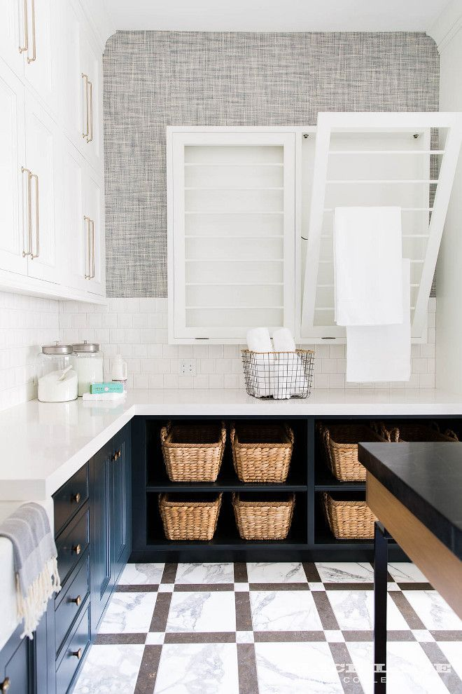 Laundry Room Drying Racks Side By Drop Down White And Gray Marble Floor Tiles Complement Dark Blue Cabinets Contrasted With