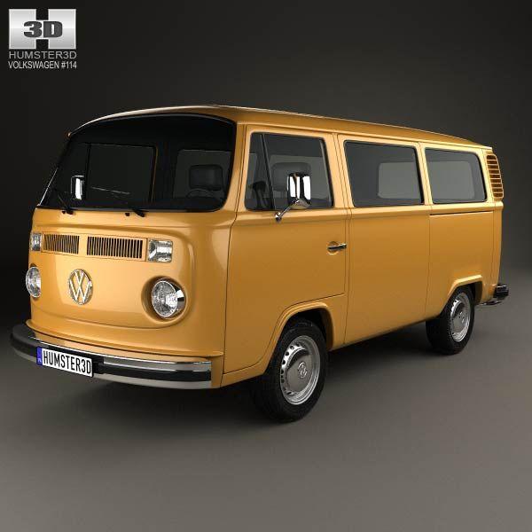 Volkswagen Transporter T2 Passenger Van 1972 3d Model