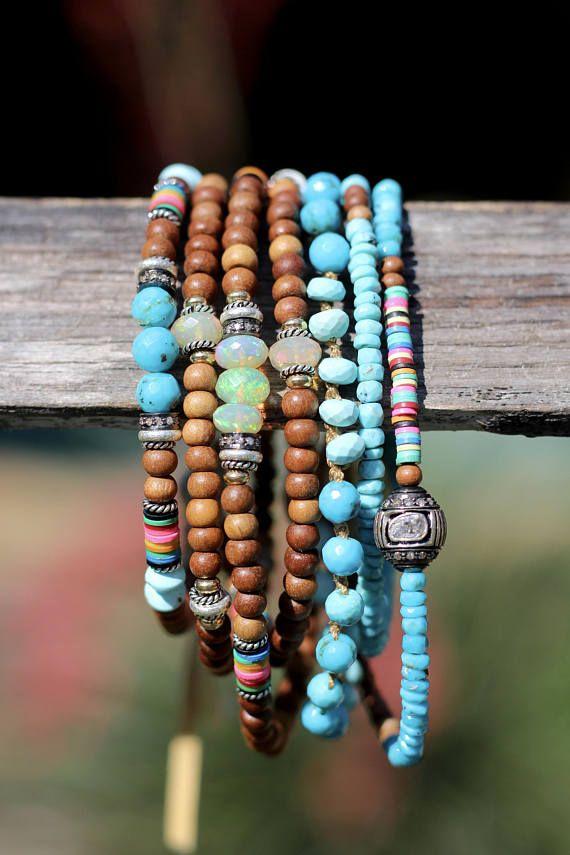 Heishi and bone bracelet with diamonds stacking beachy bracelet hippie chic stretch bracelet with pave diamonds and heishi beads boho