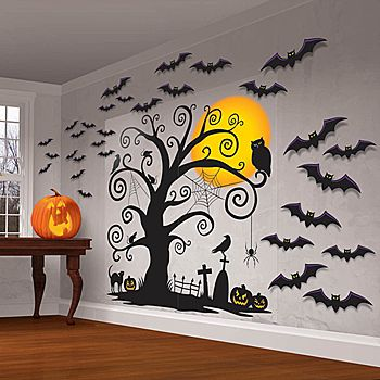Our Family Friendly Halloween Wall Scene Set features the look of a black creepy tree with the full moon behind it with black flying bat accents.