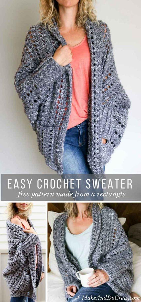 Easy, Chunky Crochet Sweater - Free Pattern! | Pinterest | Tejido ...