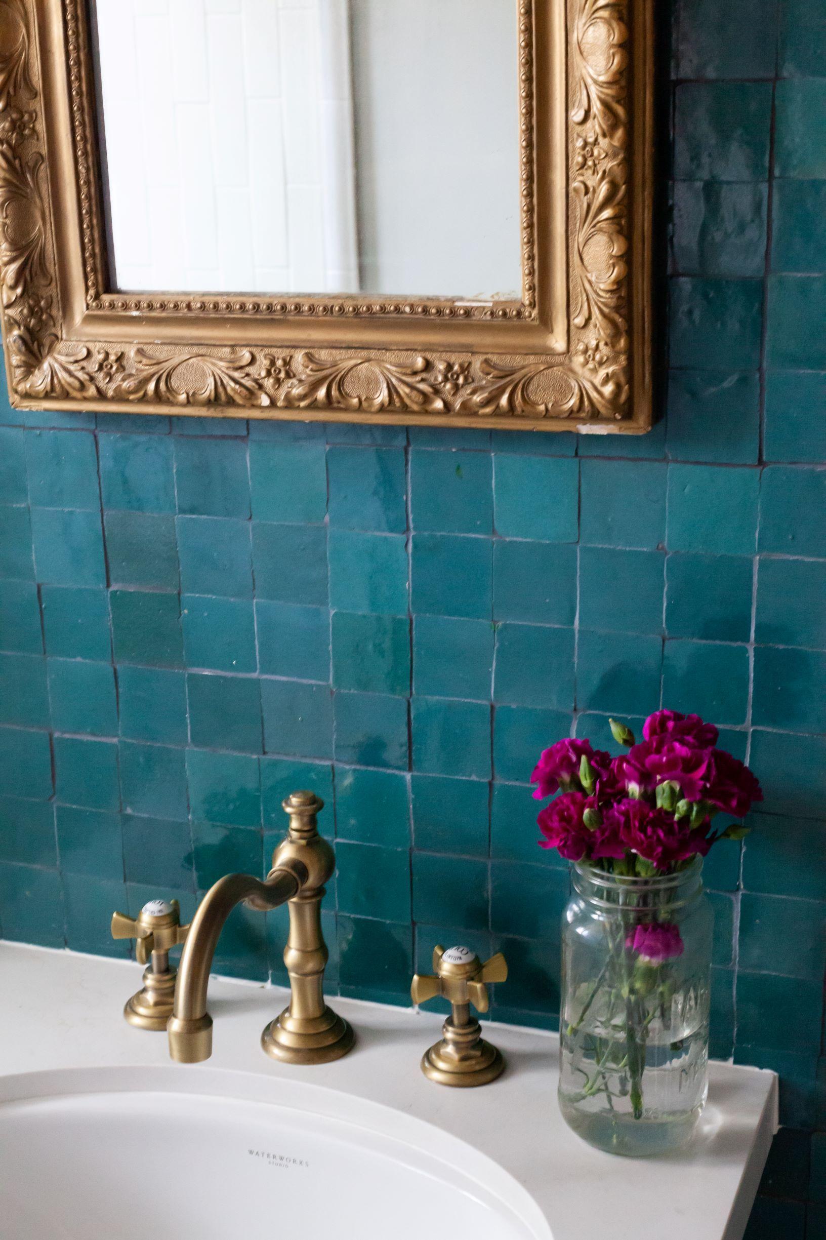 Photo of clé zellige teal blue bathroom backsplash